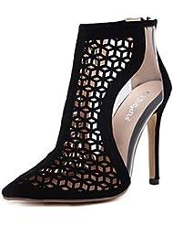 NobS Moda Mujeres Señoras Populares Pescado Hueco Tacones Alto Suede Mujeres Cool Botas Sandalias Zapatos Casual Femenino , black , 37
