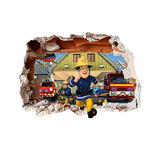Image of Fireman Sam Design Children's Repositionable Self Adhesive Vinyl 3D Hole in the Wall Sticker Décor