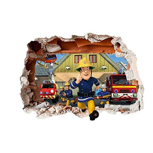 Preisvergleich Produktbild Feuerwehrmann Sam Children's Design, selbstklebend, 3D, wiederverwendbar, Vinyl, Loch in die Wand-Aufkleber-Dekor