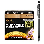 Duracell Plus Power 9V Batteries Long Lasting 6LR61 MN1604 PP3 Alkaline Battery (4 Pack) + 1x iSOUL Black Stylus Touch Ball Pen by Duracell + iSOUL