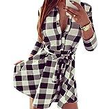 QIYUN.Z 3/4 DE La Manga De Las Mujeres Impresas Tela Escocesa De Las Camisas V Tunica del Cuello del Vestido del Vendaje con Cinturones