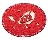 Kitchen Craft Little Red Robin de Noël Feutre sous-Verres, 10cm (10,2cm) (Lot de 4)–Rouge