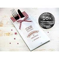 10 Stück personalisierbare Bestecktaschen für Weihnachten Besteckhülle Serviettenhülle Staffelpreisrabatt