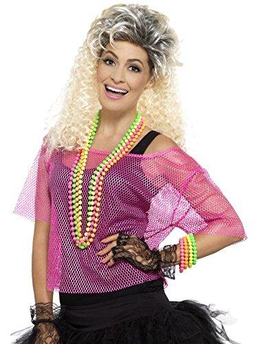 Smiffys Damen Fischernetz Oberteil, Größe: 36-42, Neon Pink, 45192