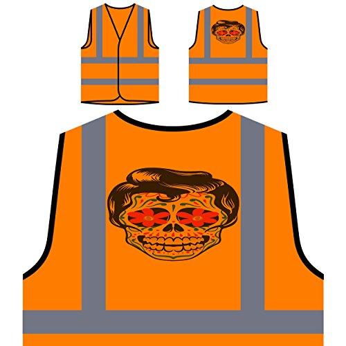 Halloween skeleton kopf elvis lustige neuheit neu Personalisierte High Visibility Orange Sicherheitsjacke Weste (Elvis Halloween)