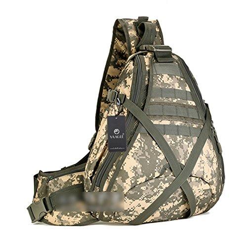 YAAGLE Groß Fassungsvermögen Reisetasche Schultertasche Gepäck militärisch Brustbeutel 14 zoll Laptoptasche Fahrradrucksack Bergsteigen Kuriertasche-Tarnung 3