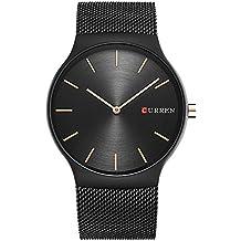 XLORDX Luxus Herren Sport Armbanduhr Minimalistic Analog Quartz Ultra dünn Schwarz Edelstahl Mesh Band Uhren