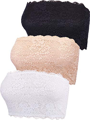 Ein Stück Nahtlose Bh (3 Stücke Damen Blumen Lace Tube Top BH Bandeau Trägerlos BH Nahtlose Dehnbar Brust Wickeln (Farbe Set 1, XL Größe))