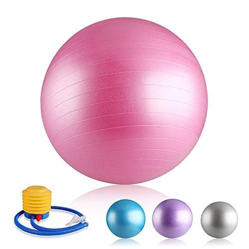 Easy Eagle Yoga Gymnastikball Fitness Swiss Ball Pilates Anti-Burst Mit Pumpe 55cm Rosa