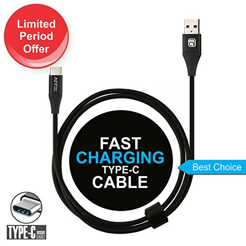 Affix 1.5M 2.4 Amp Type-C USB Data Sync and Fast Charging Cable for All Type C Devices(Black)