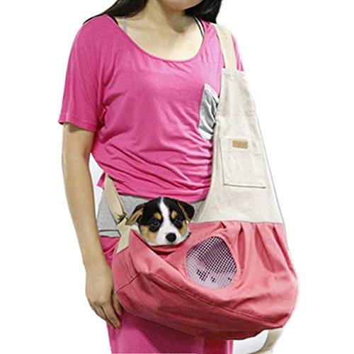 SAMGOO Mode Atmungsaktiv Netz Baumwolle Haustier Tasche Hundetasche Pet Tragetasche für klein Haustier Katze Hunde Welpen (rosa)