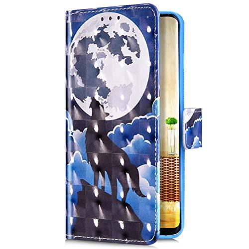 Uposao Kompatibel mit Samsung Galaxy S8 Plus Handyhülle Bunt Bling Glitzer Glänzend Muster Leder Tasche Schutzhülle Brieftasche Handytasche Lederhülle Klapphülle Case Flip Cover,Wolf Mond
