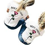 Oberteile Damen Sommer, Ulanda Best Friends Sister T-Shirt mit Rose Stickerei Bedruckte für Einem Frauen Teenager Mädchen Kurzarm Bluse Hemd Oberteile Locker Top Shirt (Rose, M)