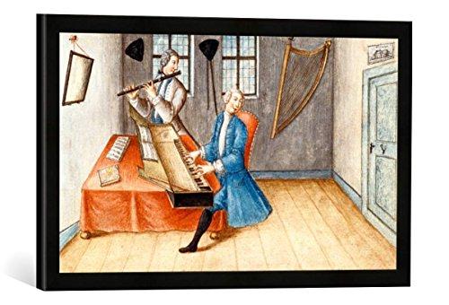 Gerahmtes Bild von AKG Anonymous Musikanten mit Clavichord u.Querflöte, Kunstdruck im hochwertigen handgefertigten Bilder-Rahmen, 60x40 cm, Schwarz matt