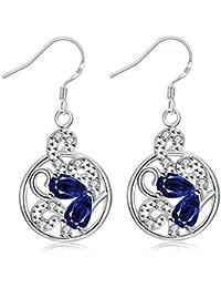 45473ab3e3e4 KNSAM - Pendientes Mujer Flor Filigrana Vintage Azul Cristal Bañado con  Plata 925 Aretes para Novias