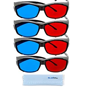 BIRUGEAR 4x 3D Red/Cyan Glasses Black Cover Style for Watching 3D Movies and Playing Games on TV/Monitor Flat Screens with **Cleaning Cloth**