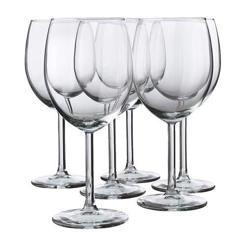 IKEA 6-er Set Rotweinglas SVALKA Gläserset mit sechs Rotweingläsern - mit 30cl Inhalt - 18cm hoch - spülmaschinenfest