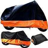 Semoss 190T Polyester Impermeable Housse de Protection pour Moto,Scooter,Taille: M 200 X 90 X 100 cm Respirante Anti-UV Couverture Housse Bache Moto avec Ce Sac de Transport,Couleur:Orange Noir