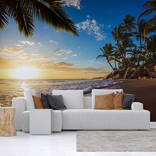 decomonkey | Fototapete Strand Meer 350x256 cm XXL | Design Tapete | Fototapeten | Tapeten | Wandtapete | moderne Wanddeko | Wand Dekoration Schlafzimmer Wohnzimmer | Sonne Palmen | FOB0075a73XL