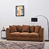 Wellgarden Jumbo Cord Corner Sofa, 3 Seater Fabric Sofa Settee, Full Chenille Cord Fabric Sofa Left or Right Chaise Couch (3 Seater Brown Sofa)
