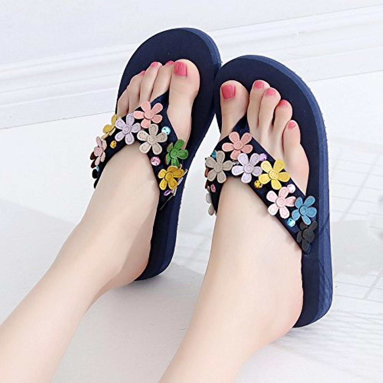 QingToo Präsident Coole Hausschuhe_Sieben Farbigen Blumen Hausschuhe Badeschuhe Cool, High-Heeled durch Feld undö