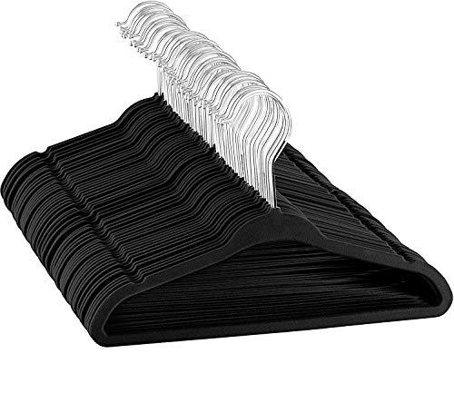 ZOBER Kinder Samtbügel - 50er Pack - 35 cm breit - Top Qualität, platzsparende, stabile Kleiderbügel, 360 Grad Drehhaken, ultra dünn, rutschfest, Kinderbügel - Schwarz