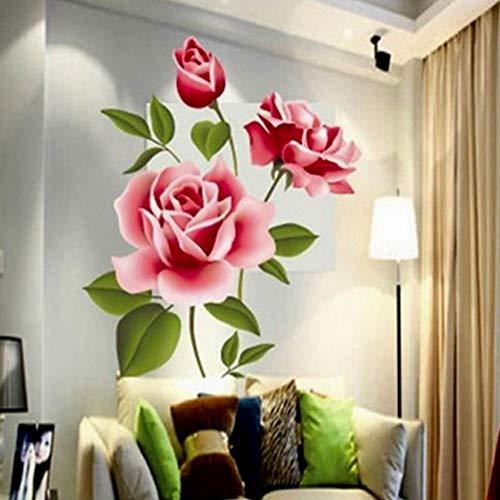Jhfvb romantic rose love 3d wallpaper casa soggiorno camera da letto cucina negozio di fiori decal regalo per la festa della mamma pvc murale art poster
