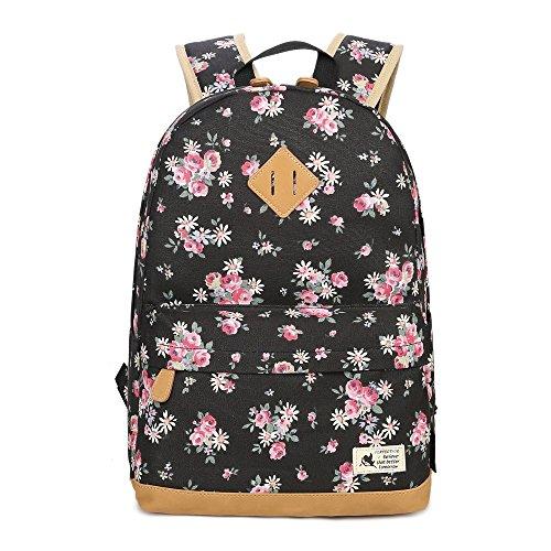 Mochila Escolar Mochila de Flores Juvenil de Moda Lona Mochila de Viaje Estampada de Flores para Instituto...