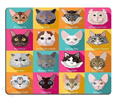 Gardesse Reihe von flachen beliebten Rassen von Katzen Symbole Persönlichkeit Desings Gaming-Mauspad, 9,5 x 7,9 Zoll (240 mm x 200 mm x 3 mm) -