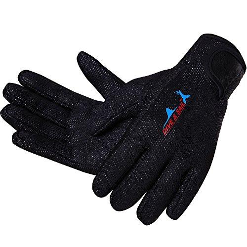 Tauchhandschuhe, Premium Neoprenhandschuhe hochelastisch Handschuhe 1.5mm für Sport im Wasser Tauchen Segeln Surfen schwarz