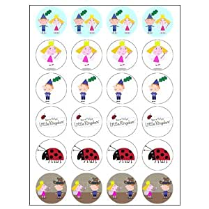 Ben & Holly style 24 Edible Wafer Paper Fairy/Cup Cake Toppers on an A4 sheet - Birthday Cake and Party Idea