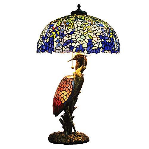 Tiffany-Stil Tischlampe, europäische farbige Glaslampe, Wohnzimmer Schlafzimmer Nachttischlampe, kreative retro handgemachte Boutique Tischlampe, (20 Zoll) - Tiffany-einzelne Licht Tischleuchte