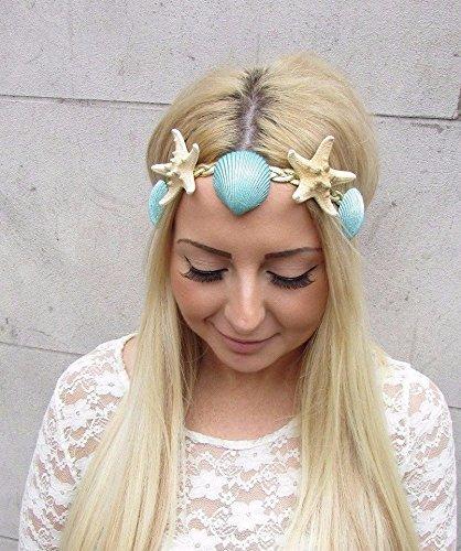 Mint Grün Gold echtem Seestern Sea Shell Kopfband Haar Krone Meerjungfrau Kostüm 2486* ausschließlich von Stil Boutique (Sea Meerjungfrau Kostüm)