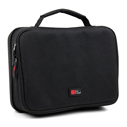 Halbhartschale | Case | Tasche Schwarz-Rot mit flexiblen Trennfächern für Ihren Beamer Crenova XPE700 DLP Beamer Pico