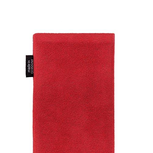 fitBAG Classic Schwarz Handytasche Tasche aus original Alcantara mit Microfaserinnenfutter für Apple iPhone 6 Plus / iPhone 6S Plus 5,5 Zoll mit Apple Leather Case Classic Rot