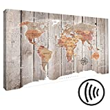 murando - Akustikbild Weltkarte 120x80 cm - Pinnwand - Wandbilder als Korktafel - Korkwand nutzbar - Schallschutz - Leinwand - Akustikdämmung - 1 Teilig - Wandbilder XXL - Schallschlucker - Wandbild - leise - k-C-0050-ah-b