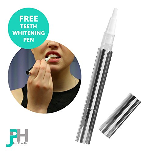 Just Pure Hut Dentist Teeth Whitening Kit – Plus BONUS FREE Advanced Teeth Whitening Pen – Zero Hydrogen Peroxide – Best Pro At Home Whitener – Natural Ingredients Gel for a white healthy smile – No bleach for sensitive tooth