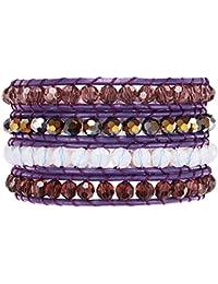 Rafaela Donata Damen-Armband Leather Collection Leder violett Glaskristall mehrfarbig 60831008