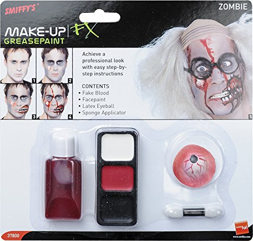 Smiffys, Zombie Make-Up Set, Latex Augapfel und Fake-Blut, (Kostüm Augapfel Fancy Dress)