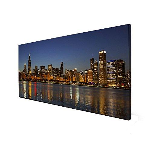 banjado Design Magnettafel schwarz | Wandtafel magnetisch 37x78cm groß | Metall Pinnwand | Memoboard mit Magneten und Montageset | Motiv Chicago Skyline