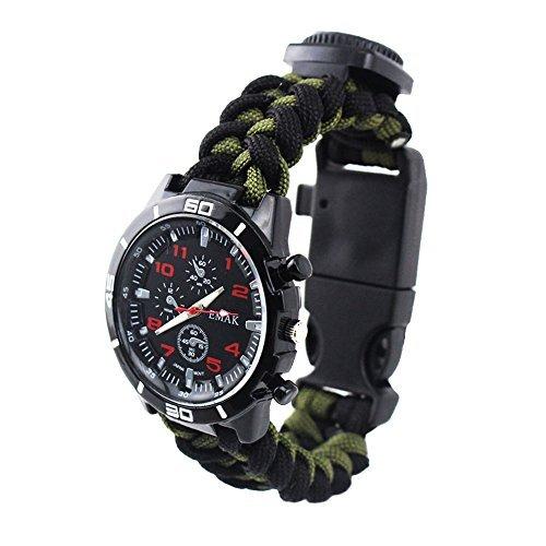 Outdoor Survival Uhren Militär Herrenuhren Arabische Ziffern Dekorative Sub-Dials Kompass Thermometer Paracord Seil Armband Handgewebt Armbanduhren für Herren, Army Grün-Schwarz