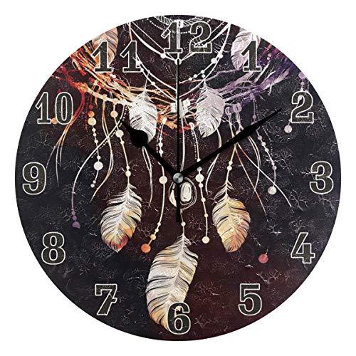 funnyy Boho - Reloj de Pared Redondo de acrílico con diseño étnico Indio y diseño de atrapasueños