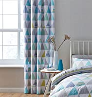 "Geometric Triangles Teal Green White Lined 66"" X 72"" - 168cm X 183cm Ring Top Curtains from Curtains"