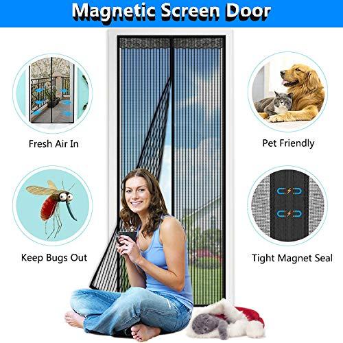 SODKK MagnetischerFliegenvorhangMoskitonetz, Insektenschutz Tür mit Klettband, Magnetverschluss, Passt Türgröße bis zu - Schwarz 140x200cm(55x78inch)