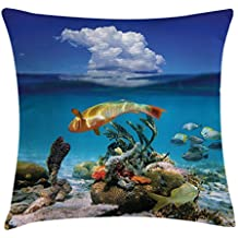 Proud Clothing Nautical Decor federa per cuscino, Underwater marine Life Scenery con Exotic Fish Reefs nel mare Caraibi immagine, decorative Square Accent Pillow case, 45,7 x 45,7 cm, blu