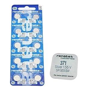 10x Original Renata 371SR920SW Uhrenbatterie Swiss Made Armbanduhr Low Drain Silberoxid 1,55V Akku Batterien–Teil des Crazy4fones Zubehörsortiments