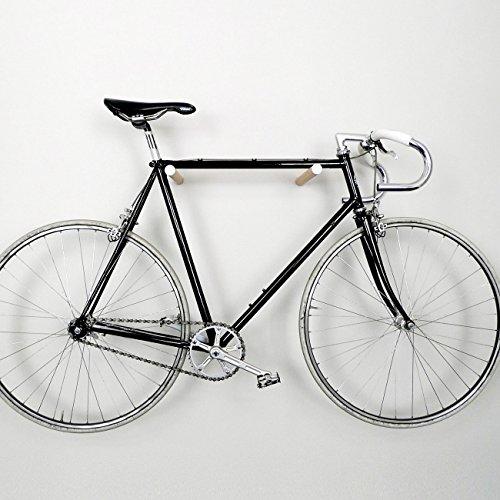 Designer Fahrrad Wandhalterung - BIKE HOOKS - versch. Sticks zu Auswahl, mit Metall- oder Farbfronten, aus Eiche oder Nussbaum, hochwertige Verarbeitung - Möbelstück zur Wandmontage des Fahrrads (Weiß)