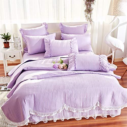xcvbw 100% Cotton Quilted Tröster für den Sommer Bettwäsche-Set Füllung Baumwolle Samt Bettbezug Set Bedskirt Queen King Size 4tlg -
