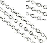 Perlin 3 meter Gliederkette Link Kette Metallkette Twist Oval 4mm Silber Schmuckkette Meterware zur Schmuckherstellung von Halsketten Armband DIY Basteln K39