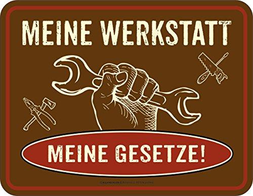 Original RAHMENLOS Blechschild für den Schrauber: meine Werkstatt (Vintage-t-shirt Party Lustige)